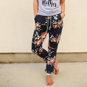 Anthropologie Floral Joggers